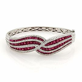 Estate 7.20ct Diamonds & Rubies 18k White Gold Fancy Design Bangle Bracelet