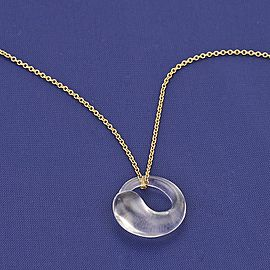 Tiffany & Co. Peretti 18K YGold & Quartz Eternal Circle Pendant Necklace