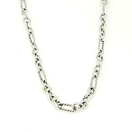 David Yurman 925 Silver 18k Y/Gold Cable Wire Oval Link Chain w/Toggle Clasp