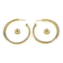 David Yurman Diamond 18k Gold Crossover 43.5mm Cable Hoop Earrings