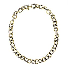"David Yurman 925 Silver 18k Yellow Gold Oval Cable Link Necklace 18"" L"