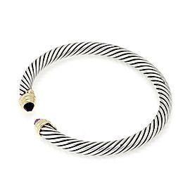 David Yurman Amethyst Sterling 14k Yellow Gold Cable Cuff Bracelet