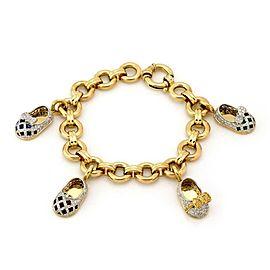 Aaron Basha 18k Yellow Gold Charm Bracelet 2.00ct Diamond 4 Shoe Charms