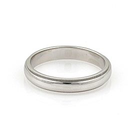 Tiffany & Co. Platinum Double Milgrain 4mm Wide Wedding Band Ring Size 10.5