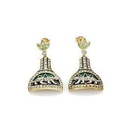 Estate 1.50ct Diamond 18k Two Tone Gold Enamel Panther Dangle Earrings