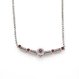 Estate 2.05ct Diamond & Ruby 18k White Gold Floral Long Pendant Necklace