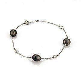 Tiffany & Co. Peretti Tahitian Keshi Pearls & Diamond Platinum Bracelet $3800