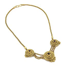 Vintage Sapphire 22k Yellow Gold Triple Center Pendant Woven Chain Necklace