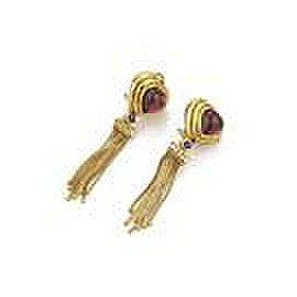 Sidengang 8.35ct Tourmaline Diamond Iolite 18k Gold Hearts Tassel Earrings