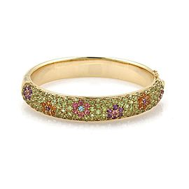 Estate Multi-Color Tourmaline Gemstone 18k Yellow Gold Floral Design Dome Bangle