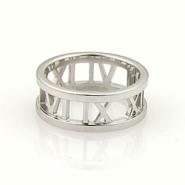 Tiffany & Co. ATLAS 18k White Gold Open Roman Numeral Band Ring Size 6.5