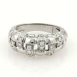 Tiffany & Co. Vannerie Diamond 18k White Gold Basket Weave Band Ring Size9