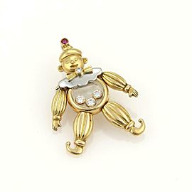 Chopard Happy Diamonds Ruby 18k Gold Animated Clown Pendant/Pin