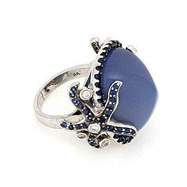Gorgeous Diamond Chalcedony Sapphire 18k Gold Starfish Earrings & Ring Set