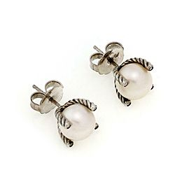 David Yurman Diamond Pearl Sterling Silver Cable Stud Earrings