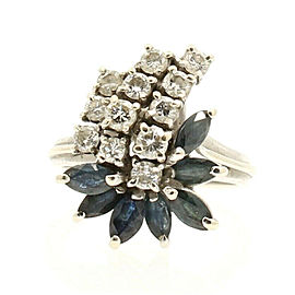 14k White Gold Diamond Sapphire Cocktail Ladies Ring Size 6