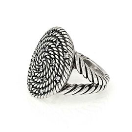 David Yurman Diamond Sterling Silver Cable Coil Oval Top Ring Size - 6