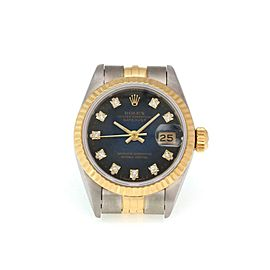 Rolex Oyster Diamond Date Just 18k Gold Steel Automatic Ladies Watch #69173