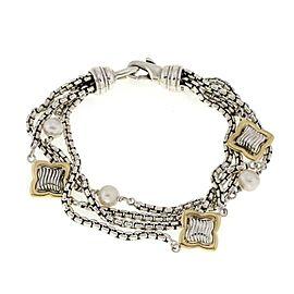 David Yurman Quatrefoil Pearls 925 Silver 18k Gold 4 Strand Chain Bracelet
