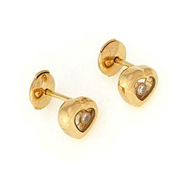 Chopard Happy Diamond 18k Yellow Gold Heart Stud Earrings