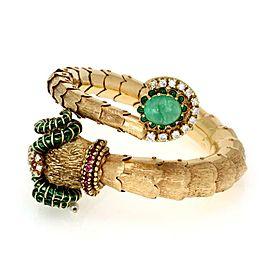 Estate 5.00ct Diamond Emerald Ruby Enamel 14k Gold Ram Head Wrap Bracelet