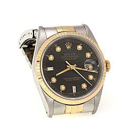 Rolex Datejust Jubilee 10 Diamond Dial Steel 18k Gold Men's Watch 16233