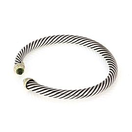 David Yurman Peridot Sterling 14k Yellow Gold Cable Cuff Bracelet