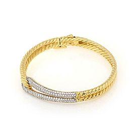 David Yurman 'Labyrinth' 1.00ct Diamond 18k Gold Loop Cable Bracelet