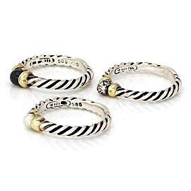 David Yurman Diamond & Gems 925 Silver 18k Gold Set of 3 Cable Rings Size 6