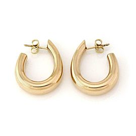 Tiffany & Co. 14k Yellow Gold 7mm Hallow Oval Hoop Earrings