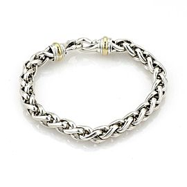 "David Yurman Sterling 14k Yellow Gold 8mm Thick Woven Chain Bracelet 7"" L"