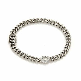 Chopard Happy Diamond Heart Charm 18k White Gold Curb Link Chain Bracelet