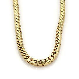 "Heavy 14k Yellow Gold 2ct Diamond 7mm Byzantine Chain Link Necklace 30"" L 263gr"