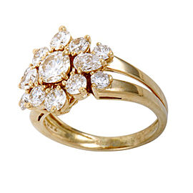 Chaumet 18K Yellow Gold & Diamond Flower Ring Size 6.0