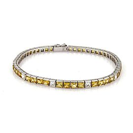 21430 Elegant 12.80ct Princess Cut Diamond Sapphire Platinum Tennis Bracele