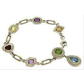 Estate 9.4ct Diamonds & Gemstone 14k Gold Assorted Shape Link Bracelet