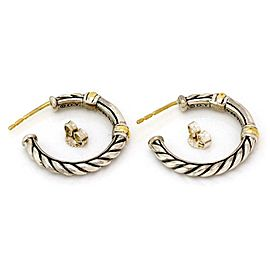 David Yurman 925 Silver 18k Gold Cable Hoop Earrings