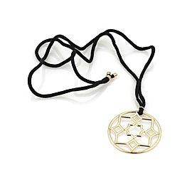 Tiffany & Co. Picasso Zellige 18k Gold Large Round Pendant Cord Necklace
