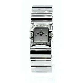 Ladies OMEGA Constellation QUADRA Diamond Stainless Steel Square Quartz Watch