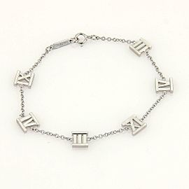 Tffany & Co. ATLAS Roman Numerals 6 Charms 18k White Gold Chain Bracelet