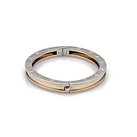Bvlgari Bulgari B Zero-1 Steel 18k Yellow Gold Engraved Bangle Bracelet 7.25""