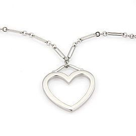 Tiffany & Co. 18K White Gold Large open Heart Pendant Necklace
