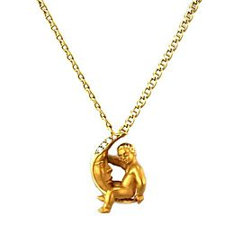 Carrera y Carrera Diamonds 18k Yellow Gold Cherub Crescent Moon Pendant & Chain