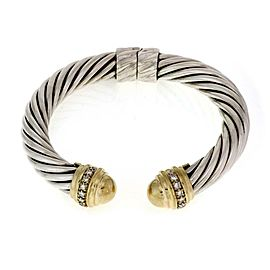 David Yurman Diamond 925 Silver 18k Yellow Gold Flex Cable Cuff Bracelet