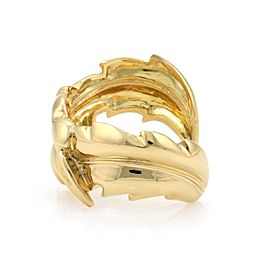 18k Yellow Gold Triple Curved Leaves Cuff Bracelet