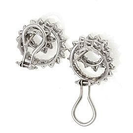 Tiffany & Co. 3.00ct Diamond Platinum Whorl Shape Post Clip Earrings