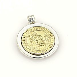 Tiffany & Co. 18k Gold Sterling Silver St. Christopher Medallion Pendant