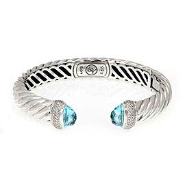 David Yurman Diamond Blue Topaz Sterling Silver Cable Cuff Bracelet