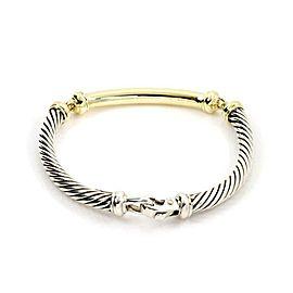 David Yurman Metro Diamond 925 Silver 14k Gold 3 Station Cable Bracelet
