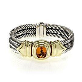 David Yurman Citrine 925 Silver 14k Yellow Gold Triple Cable Band Bracelet
